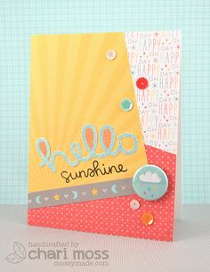 Lawn Fawn - Hello Sunshine Collection papers-flair-mixed sequins, Hello Sunshine stamp set, Scripty Hello Lawn Cuts die _ card by Chari for Lawn Fawn Design Team