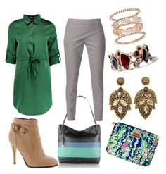 """""""glam work outfit 💚💚💚"""" by yatsina ❤ liked on Polyvore featuring Boohoo, Michael Antonio, WtR London, Chloe + Isabel and Lilly Pulitzer"""
