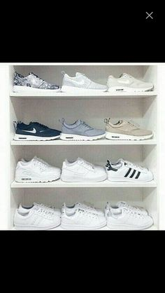 """""""my sneaker collection! nike or adidas? this is probably my most highly requested photo, i moved my heels off my shelf and took all my sneakers out of…"""" Women's Shoes, Cute Shoes, Me Too Shoes, Shoes Sneakers, Roshe Shoes, Golf Shoes, Shoes Addidas, Lacoste Sneakers, Sneakers Style"""