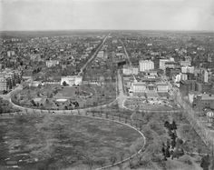Washington DC circa 1911, landmarks include the State, War & Navy Building at left; the White House and Ellipse; and U.S. Treasury.