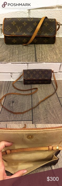 Authentic Louis Vuitton Twin Pochette PM Crossbody This crossbody is adorable and just big enough to hold all the essentials! Perfect for a date night or Sunday brunch!   Bag is in good condition overall. Monogram canvas is in excellent condition. Interior is clean with only a few tiny spots, barely visible. Strap has some cracking (examples shown in pics) but does not affect sturdiness/integrity of strap.   Please feel free to ask questions or make an offer! Louis Vuitton Bags Crossbody…