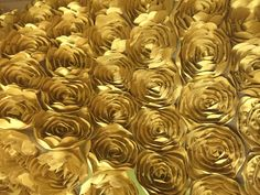 Gold Satin 3D Roses Rosette Fabric by smallsproutsbaby on Etsy