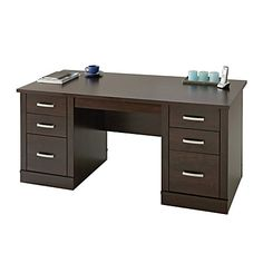 "Sauder® Office Port Executive Desk, 29 1/2""H x 65 1/2""W x 29 1/2""D, Dark Alder"