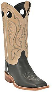 Justin® Bent Rail™ Mens Black with Toast Brown Square Toe Western Boots