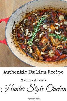 Dutch Oven Hunter Style Chicken recipe that I make again and again. 100% Italian from Mamma Agata herself! My favorite easy chicken recipe.