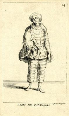 Man with hat, spectacles, ruff, short cape and striped costume, standing on white ground; illustration to Riccoboni's 'Histoire du théâtre i...