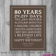 80th BIRTHDAY GIFT Sign Print Personalized By PrintsbyChristine 85th Birthday Quotes