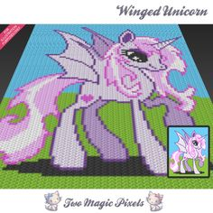 Winged Unicorn c2c graph crochet pattern; instant PDF download; baby blanket, corner to corner, afghan, graphghan by TwoMagicPixels, $4.74 USD
