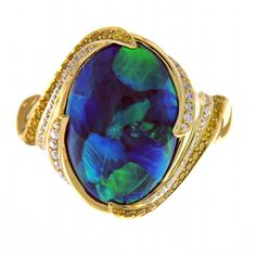 KAT FLORENCE Australian Black Opal ring with yellow and white diamonds #opalsaustralia