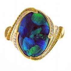 KAT FLORENCE Australian Black Opal ring with yellow and white diamonds #opalsaustralia
