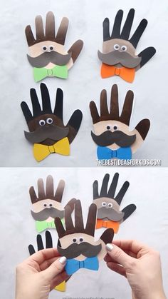 This Father's Day handprint craft comes with a free printable template to make a card. Turn handprints into an adorable Father's Day handprint card. Kids FATHER'S DAY HANDPRINT CARDS 💙💚 Toddler Crafts, Preschool Crafts, Diy Crafts For Kids, Fun Crafts, Arts And Crafts, Paper Crafts, Children Crafts, Popsicle Crafts, Craft Kids
