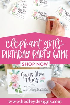 If you want a memorable party game, the baby elephant baby shower guessing game jar cards are for you; floral pink guessing cards are fun for a kids birthday party, baby games for baby shower; flower greenery guess how many kisses in the jar cards, botanical watercolor blush pink baby girl baby shower decorations, guess how many baby shower games for girls, guessing games, baby shower ideas, party games, guess how many kisses game, baby shower supplies, baby shower decorations for girls Girls Birthday Party Games, Kids Party Games, Girl Birthday, Gender Reveal Party Supplies, Baby Gender Reveal Party, Baby Sprinkle Games, Baby Shower Guessing Game, Baby Shower Decorations Neutral, Baby Shower Supplies