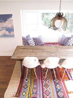 Amazing 39 Original Boho Chic Dining Room Designs : Boho Chic Dining Room Designs With White Wall Wooden Table Chair Blue Pillow Carpet Chandelier Window Hardwood Floor