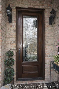 Here a door that's ready to greet visitors! 8' Solid mahogany & leaded glass. Beautiful!