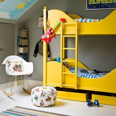Grey boys bedroom with yellow bunk bed