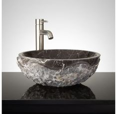 Buy the Signature Hardware 334978 Dark Emperador Direct. Shop for the Signature Hardware 334978 Dark Emperador Round Chiseled Marble Vessel Sink and save. Vessel Sink Vanity, Glass Vessel Sinks, Bowl Sink, Lavatory Sink, Sink Faucets, Gold Bathroom, Bathroom Sinks, Bathroom Ideas, Basement Bathroom