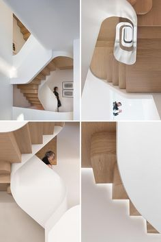 FLOW Architecture together with MAGRITS (Maria Grazia Savito Architects) has extensively redeveloped a Victorian terraced house in Kensington, London. Contemporary Stairs, Modern Stairs, Contemporary Architecture, Amazing Architecture, Interior Architecture, Les Elements, Wood Staircase, Stair Detail, Ladders