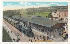 Old Orchard Beach, Maine Vintage Postcard - Arriving at Orchard Beach Maine Boston and Maine Railroad by PostcardClassics on Etsy