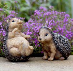 Set of 2 Small Polyresin Hedgehog Garden Animal Ornaments Animal Garden Ornaments, Small City Garden, Garden Animals, Animal Design, Traditional Design, Garden Inspiration, Hedgehog, Garden Design, Gardens