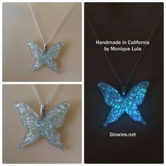 Shown in silver holographic with outer space galaxy like a night sky of stars around your neck! Glows in the dark includes glow charging light key chain. Holographic reflects rainbow of colors in all