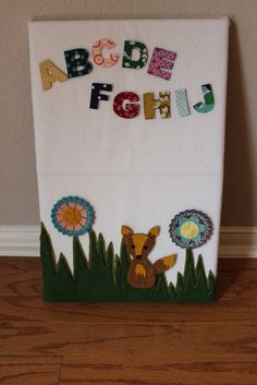 DIY felt board- love the letters in different fabrics