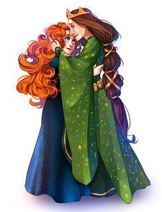 Embrace by ~ayane-ninja - Merida and Elinor - Brave Disney Nerd, Disney Fan Art, Disney Love, Disney Magic, Brave Disney, Merida Disney, Disney Family, Disney And Dreamworks, Disney Pixar