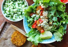 lilla matdériven: Marockanska veggie burgers med korianderlimesås