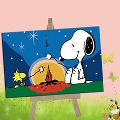 E-onelife Diy Oil Painting, Paint By Number Kits For Children, The Fire Of Snoopy Diy Digital Oil Painting With Wooden Frame