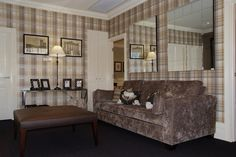 Living room display- Chocolate sofa and Plaid wallpaper - by Candlewick Interiors