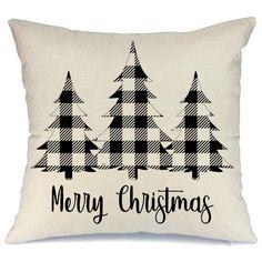 Buyerstops AENEY Christmas Plaid Pillow Cover inch for Farmhouse Christmas Decor Black Buffalo Check Throw Pillow Buffalo Plaid Christmas Decorations Throw Pillow Cover - Diy Pillow Covers, Diy Pillows, Throw Pillows, Decorative Pillows, Ikea Pillow, Bolster Pillow, Pillow Ideas, Neck Pillow, Cushion Covers