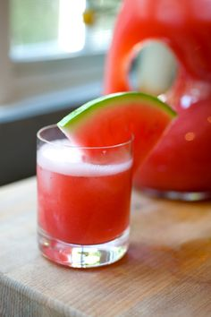 Pink Tequila - watermelon, strawberries, and lime juice blended with tequila = delicious summer cocktail!