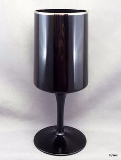 "Lenox Venture Water Goblet Black Crystal Platinum Trim 7"" #Lenox"