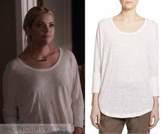 Hanna Marin (Ashley Benson) wears this white long sleeve top in this week's episode of Pretty Little Liars. It is the Joie [...]