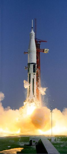 Apollo-Saturn 201 (AS-201), the first Saturn IB launch vehicle developed by NASA's Marshall Space Flight Center (MSFC), lifts off from Cape Canaveral, Florida, at 11:12 a.m. on Feb. 26, 1966.