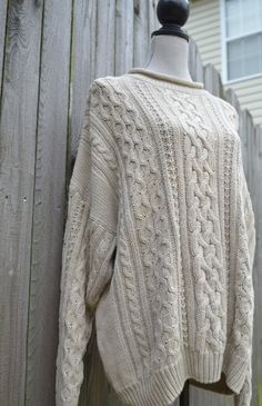 Cream Knit Sweater / Vintage Gray Cable Knit by WakeUpDelilah