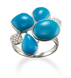 Diamond and Turquoise Ring in 14k White Gold