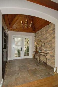 stone wall and slate floor.