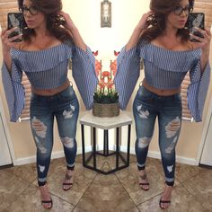 Tori Off The Shoulder Top - Navy/White