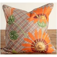African Orange Daisies on Checkered Background Pillow
