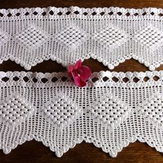 Dutch Crochet Curtains Filet Valance Vintage Curtains Cotton Lace