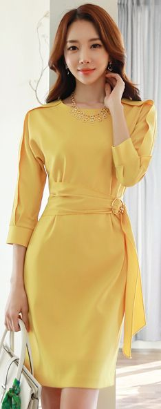 StyleOnme_Gold Buckle Belted Round Neck Dress #yellow #summer #spring #koreanfashion #kstyle #seoul #dress #elegant #dailylook