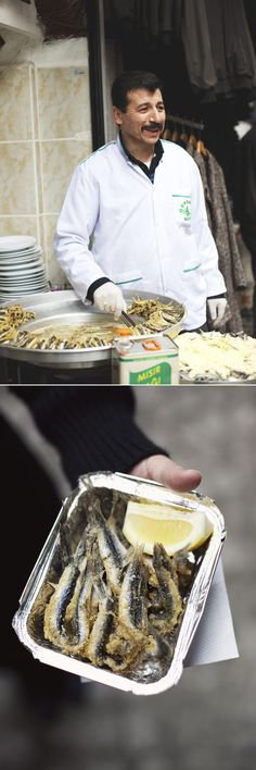 Hamsi - street vendor frying little anchovies lightly dusted in cornmeal and spritzed with lemon