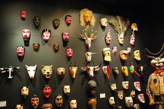 Display of masks used for traditional dances at a temporary exhibition dedicated to the state of Hidalgo at the Museo de Arte Popular, Mexico City