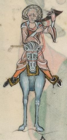 HORN Detail from The Luttrell Psalter, British Library Add MS 42130 (medieval manuscript,1325-1340), f43v