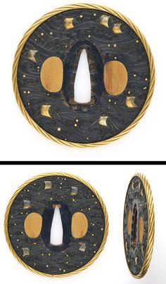 Round shape Shakudo Tsuba, Waves and ships are engraved with gold color. The rim is coverd with gold color.