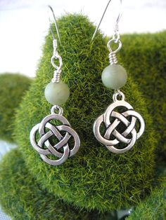 CONNEMARA Marble Silver  CELTIC Knot Open Round  Knot IRISH Earrings