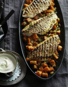 Snapper fillets with spiced sweet potato.