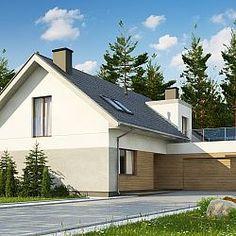 Współczesny dom jednorodzinny z lukarną i garażem dwustanowiskowym...