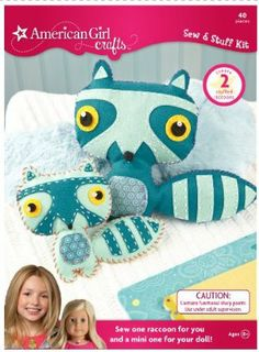 American Girl Crafts Sew Stuff Kit, Raccoon by EK Success. $12.21. 40 pieces included. Includes felt pieces, embroidery floss, sequins, needle, needle threader and 100% polyester stuffing. Step-by-step instructions make sewing simple. For Ages 8+. Each pieces includes perforated stitch guides, making it easy to sew. From the Manufacturer                Sew one raccoon for you and mini one for your doll. Includes felt pieces, embroidery floss, sequins, needle, need...