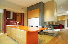 Finding the Perfect Kitchen Colors for Your Kitchen At Home: Enchanting Kitchen Color Combinations Pictures Rectangular Silver Range Hood Red Glass Tile Backsplash Small Rounded Ceiling Fittings Rectangular Wooden Islands ~ workdon.com Kitchen Design Inspiration